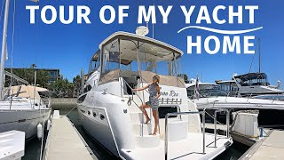 YACHT TOUR of MY LIVEABOARD HOME / Meridian AFT CABIN Motor Yacht WALKTHROUGH with SPECS & Outtakes