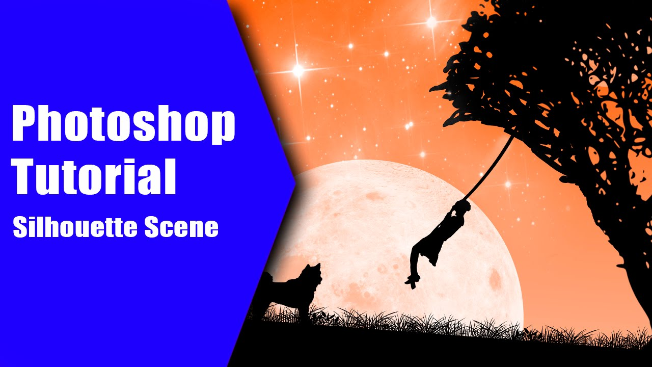 Photoshop cc how to make a moonlight silhouette scene from scratch photoshop cc how to make a moonlight silhouette scene from scratch tutorial youtube baditri Images