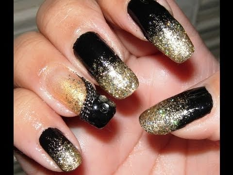Easy Black and Gold Glitter Nails for New Years Eve!!! - YouTube