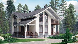 Проект дома в скандинавском стиле из кирпича. Дом с мансардой и террасой. Ремстройсервис М-371