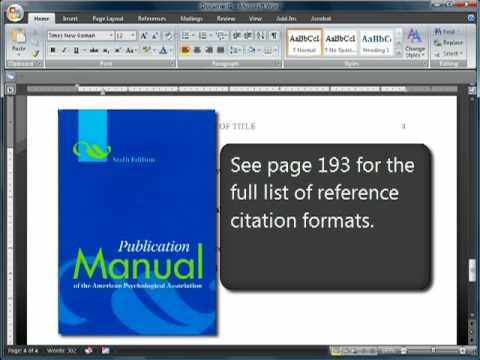 APA Format and Citations: Sixth (6th) Edition