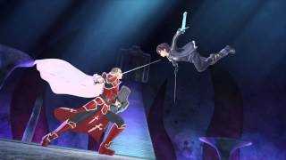 SWORD ART ONLINE Re: Hollow Fragment - heathcliff vs kirito scene