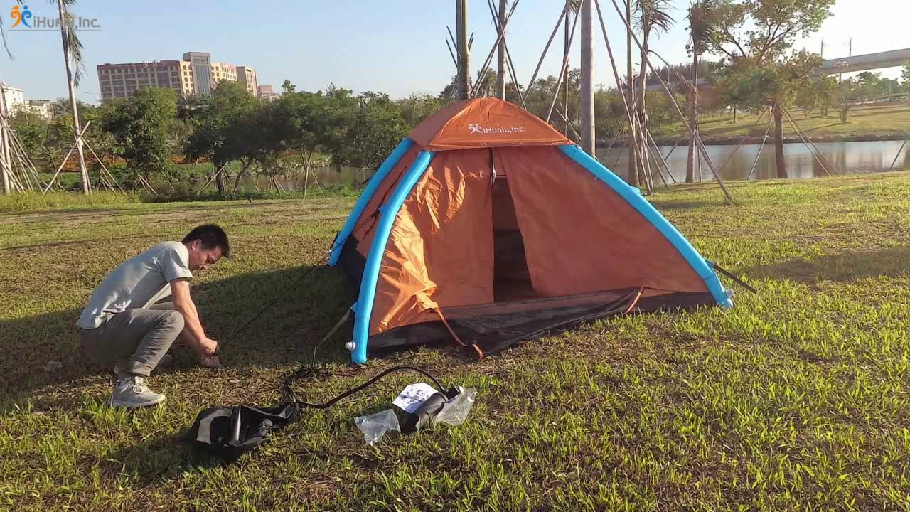 IHUNIU 3-4 Person Inflatable Camping Pop up Tent Waterproof for Beach,Camp,Travel,Hiking,Survival with Air Pump INC