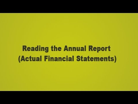Reading the Annual Report - Actual Financial Statement Analysis