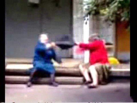 Grannies handbag fight  (action)