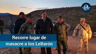 Ebrard recorre lugar de masacre a los LeBarón; no hay tensión con EU, dice