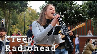 CROWDED STREET STOPS IN AMAZEMENT | Creep - Radiohead | Allie Sherlock & The 3 Busketeers