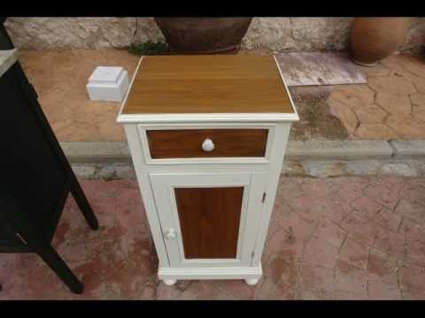 Restauraci n de mesillas y puerta antigua youtube for Muebles antiguos pintados de blanco
