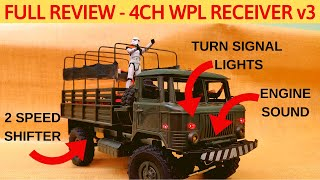 FULL REVIEW - WPL RECEIVER V3 w TURN LIGHTS, ENGINE SOUND, 2 SPEED TRANSMISSION, 4CH TRANSMITTER