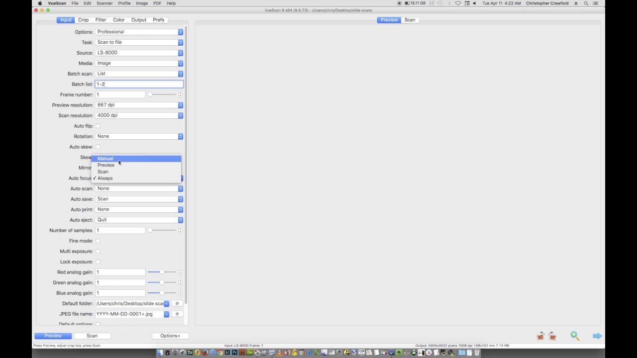 Color Slide Scanning With Vuescan