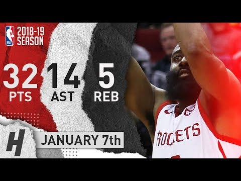 James Harden Full Highlights Rockets vs Nuggets 2019.01.07 - 32 Pts, 14 Ast, 5 Rebounds!