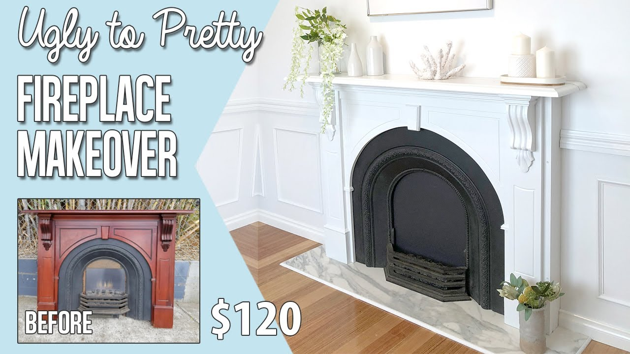 Diy Faux Fireplace Makeover How To Install A Fake Fireplace Painting An Electric Fireplace White Youtube