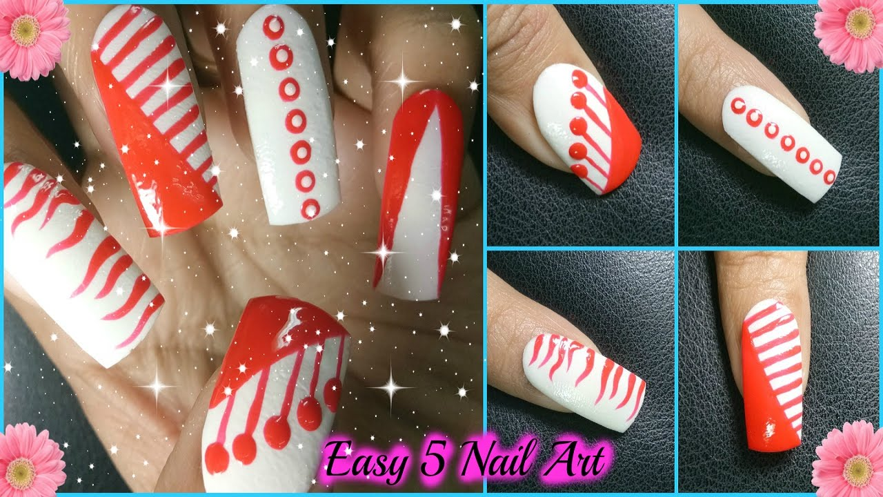 Nails and Nail Art Designs Tutorial - Non stop 5 Red and White Nail ...