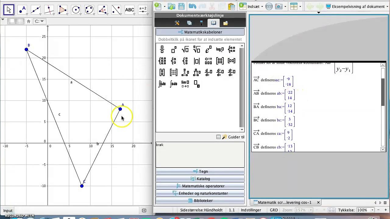 Bestem vinkel ABC ved hjælp af koordinater - vektorer, invers cos, Ti-Nspire
