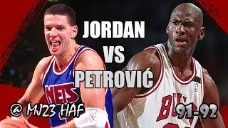 Michael Jordan vs Dražen Petrović Highlights Bulls vs Nets (1992.02.11) - 57pts Total, Crazy Moves!