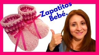 Repeat youtube video Mis Primeros Escarpines en tejido crochet tutorial paso a paso.