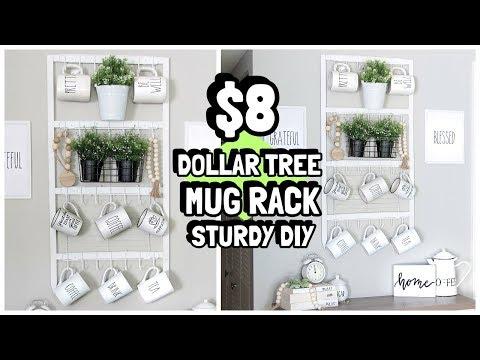 $8 DOLLAR TREE MUG RACK ORGANIZER DIY WAL-MART WOOD