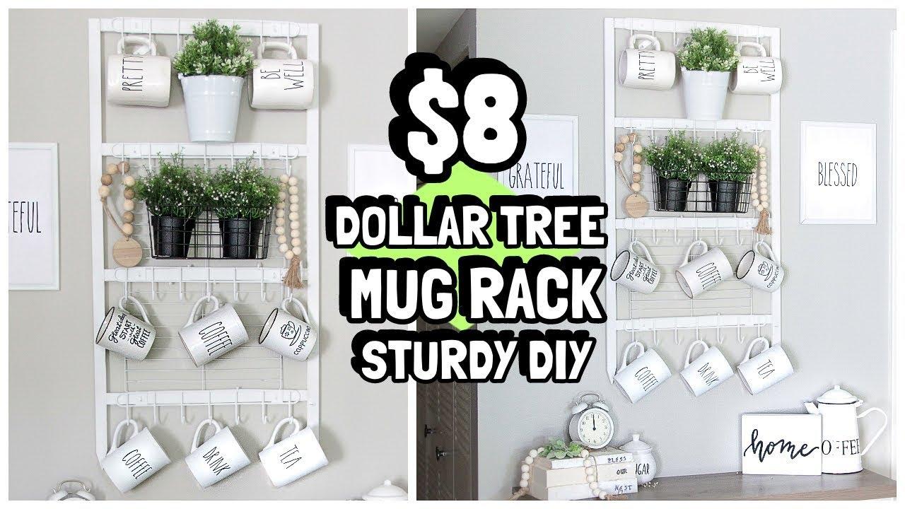 8 Dollar Tree Mug Rack Organizer Diy Wal Mart Wood Youtube