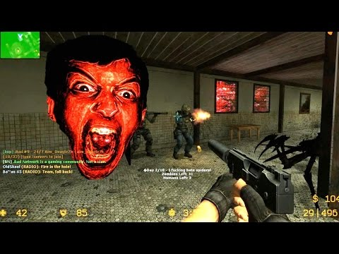 Counter Strike Source - Zombie Horde mod Zombie Horror boss fight online gameplay on Livehouse map