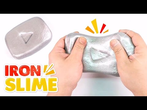 DIY IRON SLIME !! Make Youtube Silver Play Button - MonsterKids