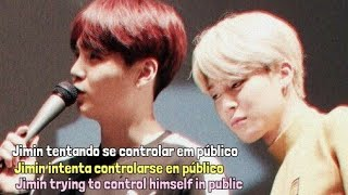 Yoonmin (Análise|Análisis|Analysis) Jimin trying to control himself in public [PT/ESP/ENG]