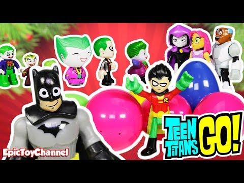 TEEN TITANS GO! Jingle Bells Batman Smells Song Teen Titans Surprise Eggs and Joker Collection Toys