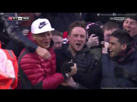 Herrera, Marcos Rojo and Phil Jones celebration - Liverpool - Manchester United 17.01.16