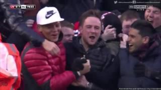 Herrera, Marcos Rojo and Phil Jones celebration - Liverpool - Manchester United 17.01.16