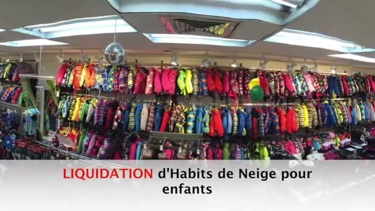 Liquidation d 39 habits de neige rodin entrep t youtube for Entrepot de liquidation
