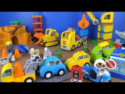 LEGO duplo(レゴデュプロ)のはたらくくるまを沢山組み立てるよ♪トラック、クレーン車、レッカー車などが登場10813