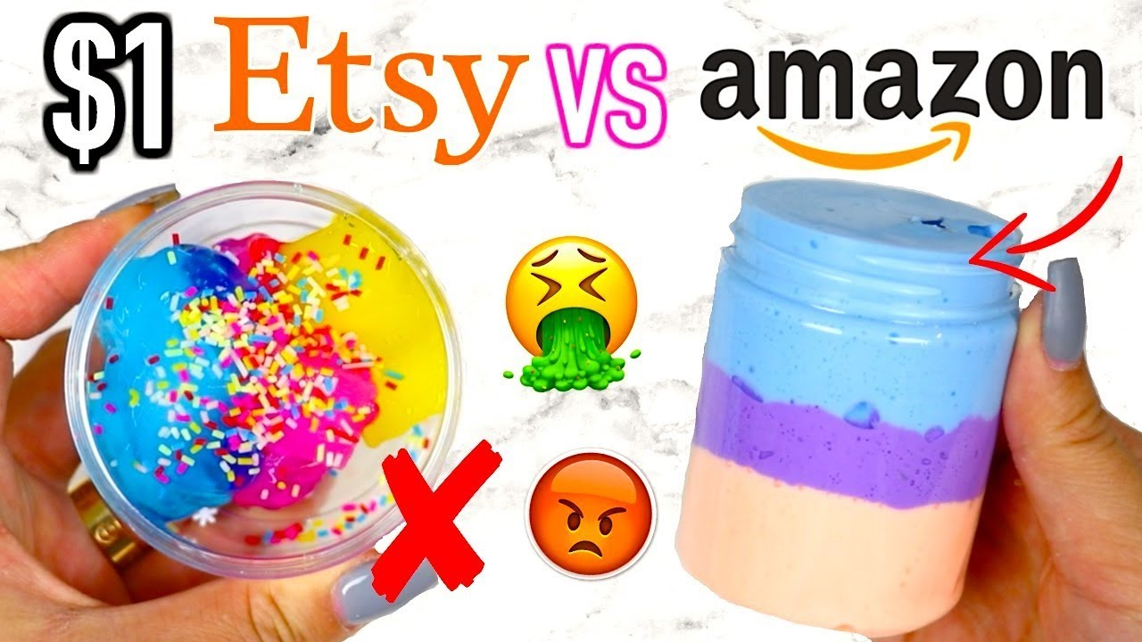 $1 ETSY SLIME VS $1 AMAZON SLIME! Which Is Worth It?!?