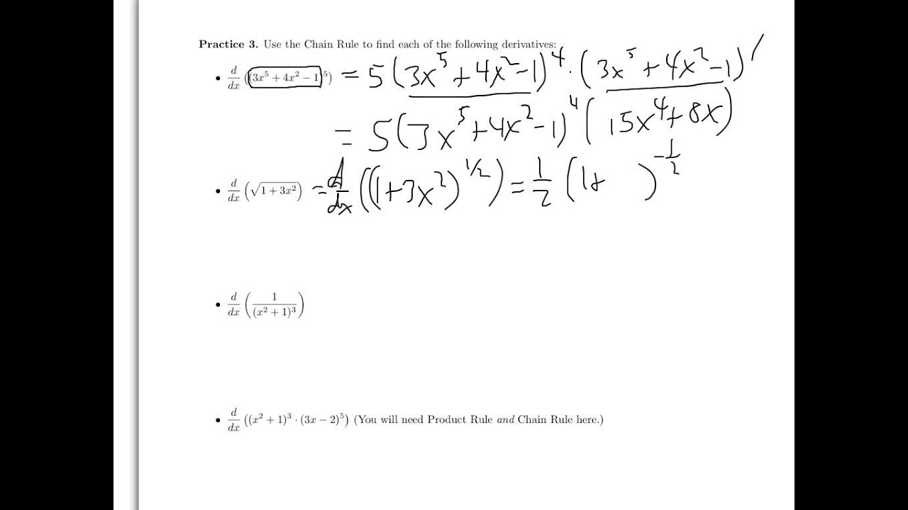 Free Worksheet Chain Rule Worksheet worksheet on sections 1 61 7 problems 3 youtube 3