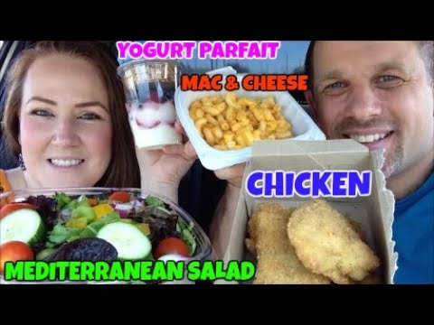 MUKBANG | EATING CHICKEN, MAC & CHEESE, MEDITERRANEAN SALAD & YOGURT PARFAIT | EATING SHOW