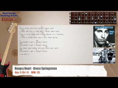 Hungry Heart - Bruce Springsteen Bass Backing Track with chords and lyrics