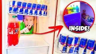 Secret Hidden FOOD FORT inside a Refrigerator! *SECRET ENTRANCE*