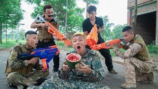 Battle Nerf War: Worker Nerf Guns Five Robber WATERMELON & ICE CRERAM BATTLE