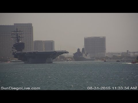 USS Ronald Reagan (CVN-76) departure for new home port in Yo