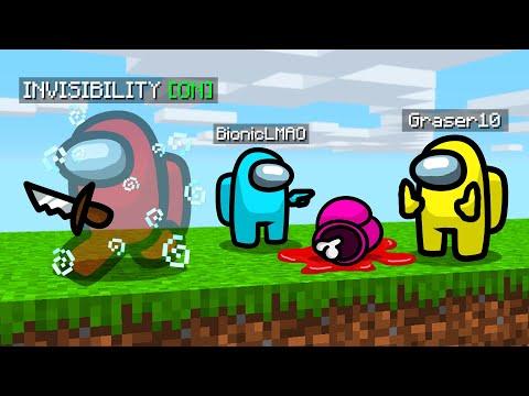 i secretly used 'invisibility' in Minecraft Among Us.. - Видео онлайн