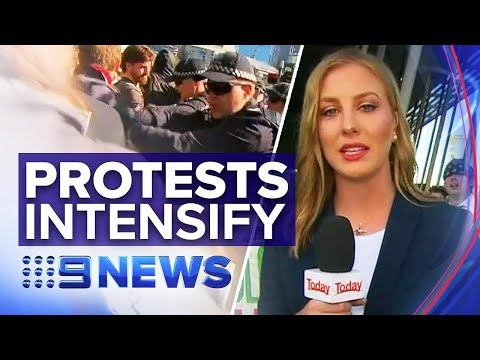 Climate protests intensify outside Melbourne mining conference | Nine News Australia