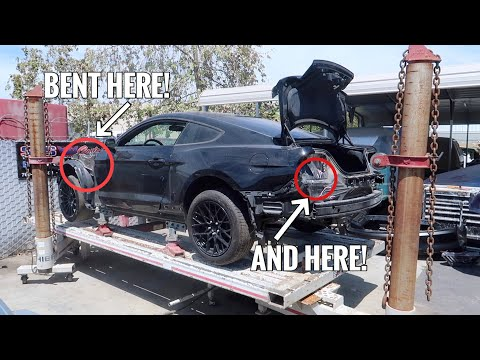 Wrecked Mustang GT goes to the Frame Machine!