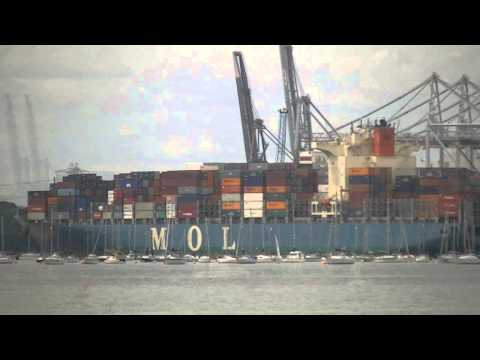 OOCL Brussels & MOL Commitment, arrive and depart Southampton Port 26/07/13