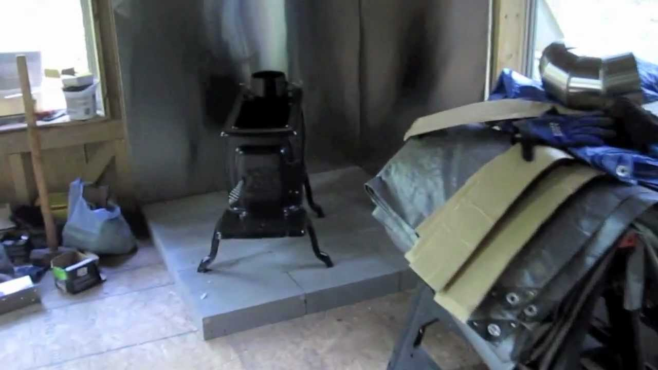 Guest Cabin - installing stainless steel chimney, wood stove, staining &  insulating - 8-26-2012 - YouTube - Guest Cabin - Installing Stainless Steel Chimney, Wood Stove
