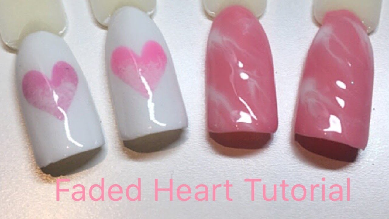 Easy Gel Polish Nail Art Faded Hearts And Easy Gel Marble Youtube