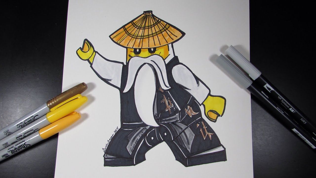 How to draw ninjago sensei wu lego speed draw 39 youtube - Sensei ninjago ...
