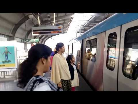 KPHB Metro Station View with Passing a Train as on 25.12.2017-Hyderabad-India