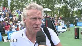 Tennis legends Bjorn Borg and John McEnroe team up for doubles