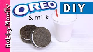 DIY How to Make Oreo Cookies | Polymer Clay Keychain Charm Tutorial HobbyMomTV