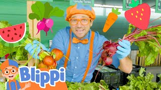 Blippi Learns Fruits & Vegetables At The Farm | Healthy Eating Videos For Kids | Educational Videos
