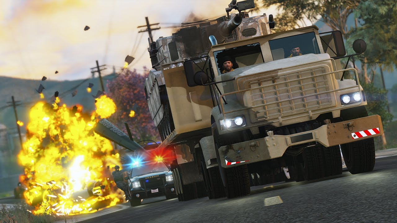 Trevor and Michael Hijack a Tank | GTA 5 Action movie