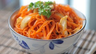 рецепт корейский морковный салат с кальмарами